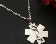 Emergency Medical Alert ID Necklace for men and women - EKG, ECG, Sinus Rhythm, Doctor, Nurses, Pulse