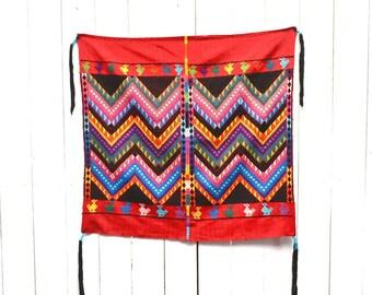 Southwest Wall Hanging - 1960s Vintage Woven Chevron Tapestry - Guatemalan Fringe Saddle Blanket
