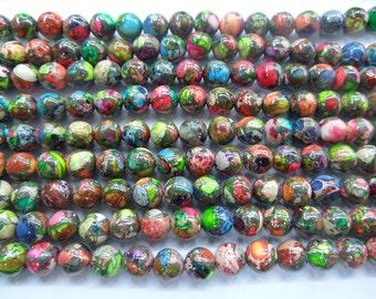 "Five Colour Jasper Sea Sediment Pyrite Genuine Natural  4mm - 12mm Round Loose Beads Jewelry Making Semiprecious Gemstone 15""L Bead -"