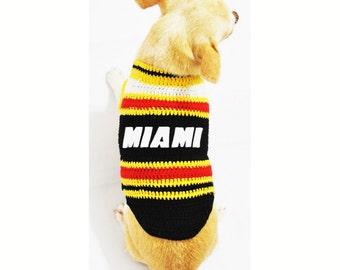 Miami Heat Dog Jersey NBA Pet Shirt Handmade Crochet All Star Basketball XXS Chihuahua Clothes Apparel DK982 by Myknitt - Free Shipping