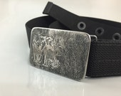 Wooly Mammoth Belt Buckle - Etched Stainless Steel - Handmade