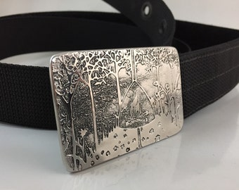 Happy Camper Belt Buckle - Etched Stainless Steel - Handmade