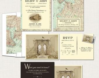 Destination Wedding Invitation Brooklyn New York Invitation Suite   Rustic  Urban Wedding Brooklyn Bridge Vintage Map
