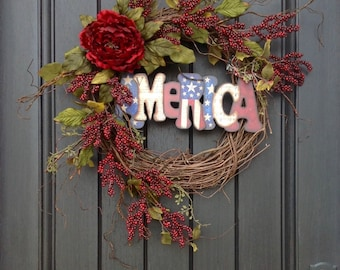 Spring Summer Fall Wreath Red Berry July Fourth Memorial Day Patriotic Twig Grapevine Door Wreath Decor Use Year Round Indoor Outdoor Decor