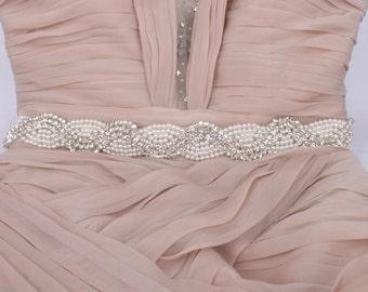 Southern Belle - Vintage Style Rhinestone Crystals Wedding Belt, Sash