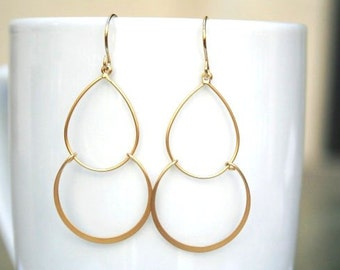 Gold Hoop Earrings. Gold Hoop Earrings. Hoops.Double Hoop Earrings. Gold Dangle Earrings. Simple Gold Earrings. Everyday. Minimalist.Dainty
