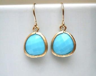 Gold Turquoise Earrings. Turquoise Earrings. Blue Earrings. Howlite. Powder Blue Earrings. Bridesmaid Gift. Wedding Earrings. Baby Blue.Sale