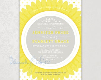 Sunflower Spring Summer Baby Shower Invitation You are my sunshine Neutral