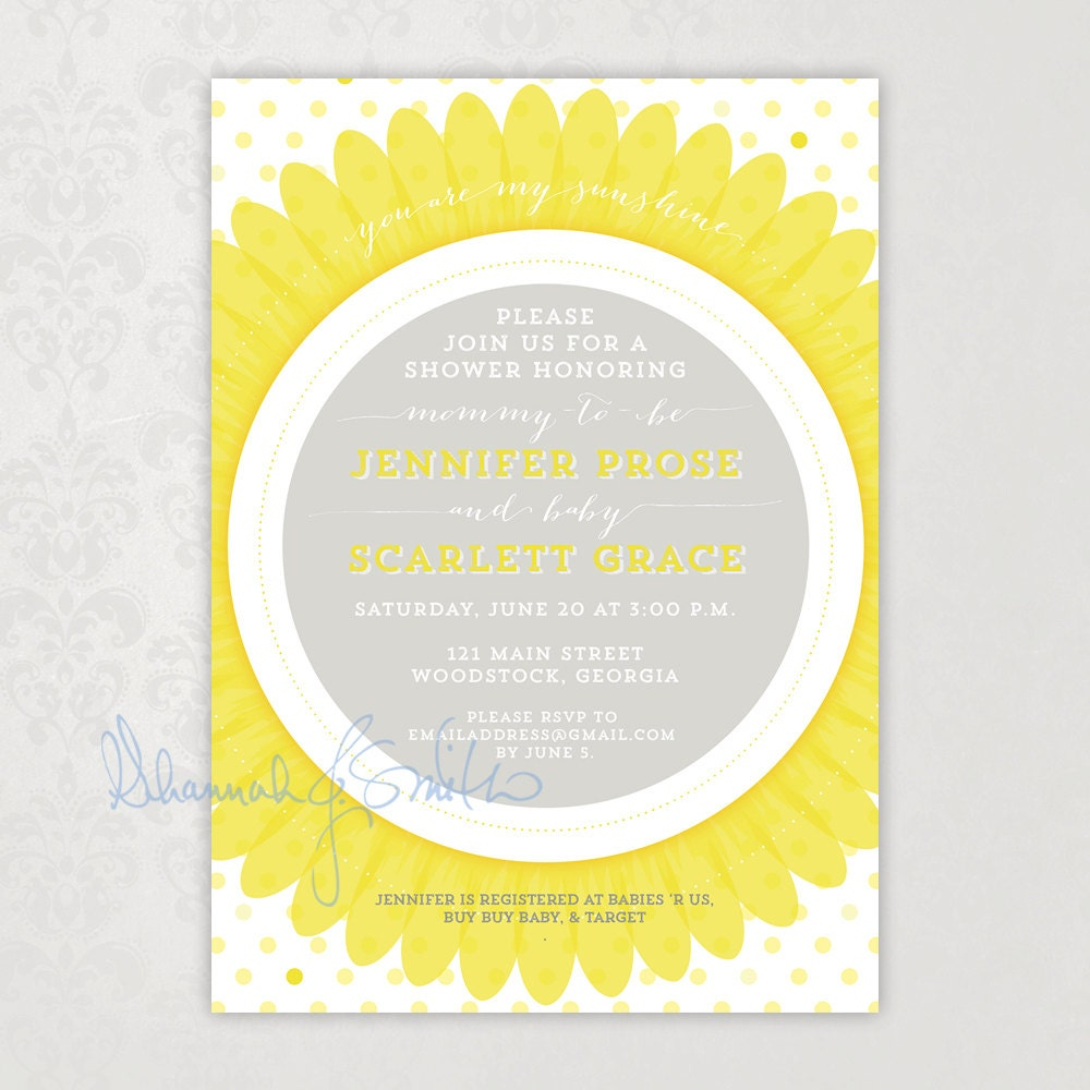 sunflower spring summer baby shower invitation you are my