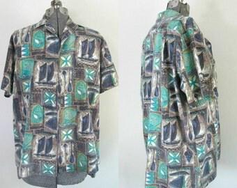Mid Century Hawaiian Mens Shirt Rai Nani 1960s Kitsch Beach Fashion