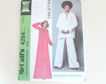 1970s Designer Halston Sewing Pattern / Palazzo Pants Dress Top / McCall's Step By Step Size Small Never Used