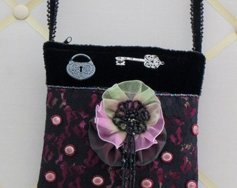 Cross Body PURSE - Black VELVET - Fuchsia Lace  - Ribbon-work  - Beading and Charms - BAG