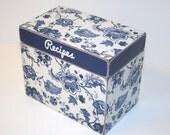 Recipe Box, Blue and White Recipe Box, Delft Print Box, 4x6 Wood Recipe Box, Blue and White Kitchen, Wedding Guest Book Box