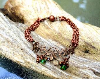 Copper Vintaj Floral Vine and Crystal Copper Bracelet