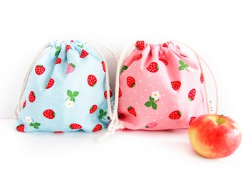 Small Drawstring Bag - Strawberry (Blue)