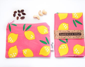 Lunch Set of Sandwich Wrap and Snack Bag with Food-Safe Nylon Lining - Pink Lemonade (Organic Cotton)