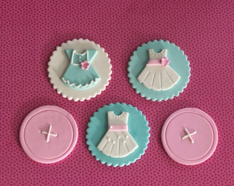Fondant Button and Dress Toppers for Birthday Cupcakes, Cookies or Cakes