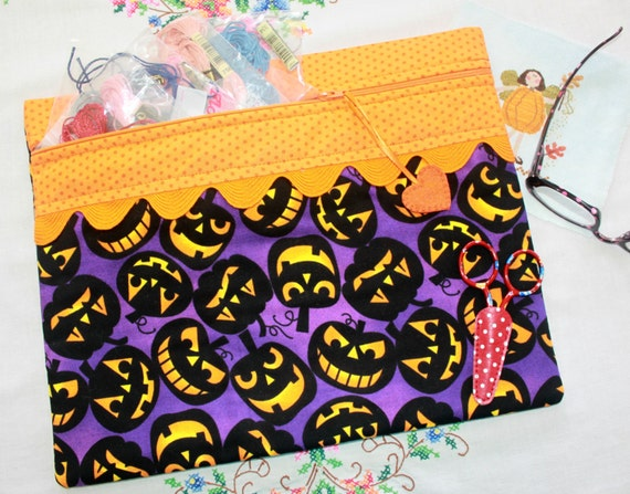 Jack Attack Halloween Cross Stitch, Sewing, Embroidery Project Bag
