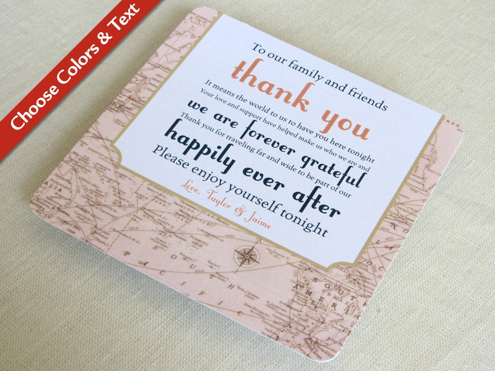 Vintage Map Wedding Reception Thank You Card Destination – Order Wedding Thank You Cards