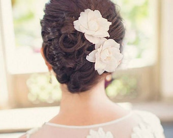 Bridal Hair Accessories, Fine Handmade Flower Headpiece, Bridal Hair Flowers with Silk Dupioni, Silk Flower Bridal Hair Clip