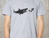 Mermaid Shark Attack - Men's Graphic Tee - American Apparel Heather Grey T-shirt - Men's Small Through XXL Available