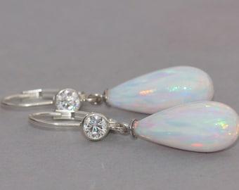 RARE Elegant Genuine Opal Drop Earrings,LONG Opal Teardrop Rhienstone Earring,Sterling Silver,Lab Created White Opal,October Birthstone,Gift
