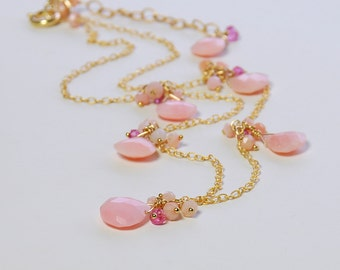 SALE 25% OFF Pink Opal Dainty Necklace by Agusha. Peruvian Opal, Pink Quartz Cluster Necklace. Pink Gemstone Necklace