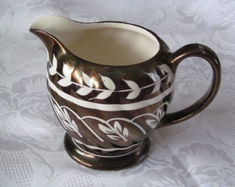 Sadler Copper Lustre Creamer Leaf Design Made in England, Vintage