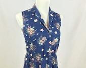 1970s Navy Blue Floral Button Up Shirt Dress Womens Small