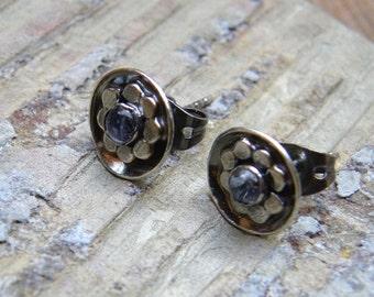 Gemstone Flower Post Earrings in Sterling Silver, Boho Posie Button Studs E145
