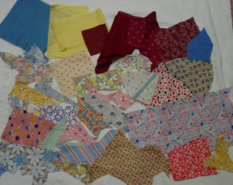 Vintage Lot of Cotton Fabric Pieces, 1930's, Quilting