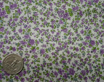 "Lovely Vintage Cotton Fabric, Tiny Lavender Print, 35"" Wide, 2 1/2 Yards"