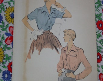 Vintage Pattern c.1950's Advance No.5407 Blouse, Size 16 Bust 34