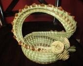 Charleston Sweetgrass Gullah Palmetto Rose Basket  (s-handle)