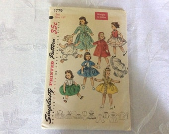 Vintage Simplicity Doll Clothing Pattern 1779 Printed in 1956 Uncut, Factory Fold for 18 Inch Dolls