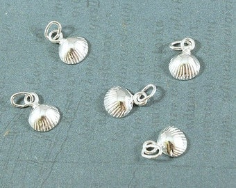 Sterling Silver Scallop Shell Charm - 7x10mm - Sold Per Piece - CR5SS