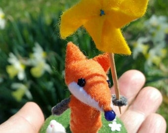 Little fox doll with pet dove and pin wheel