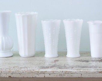 Lovely Milk Glass Collection of 5 Large Vases Perfect for Home Decor and Shabby Chic Wedding Decor