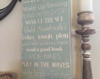 Beach House family rules 12x24 - can be personalized