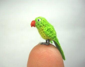 Green Parrot in Dome - Micro Amigurumi Miniature Crochet Bird Stuffed Animal - Made To Order