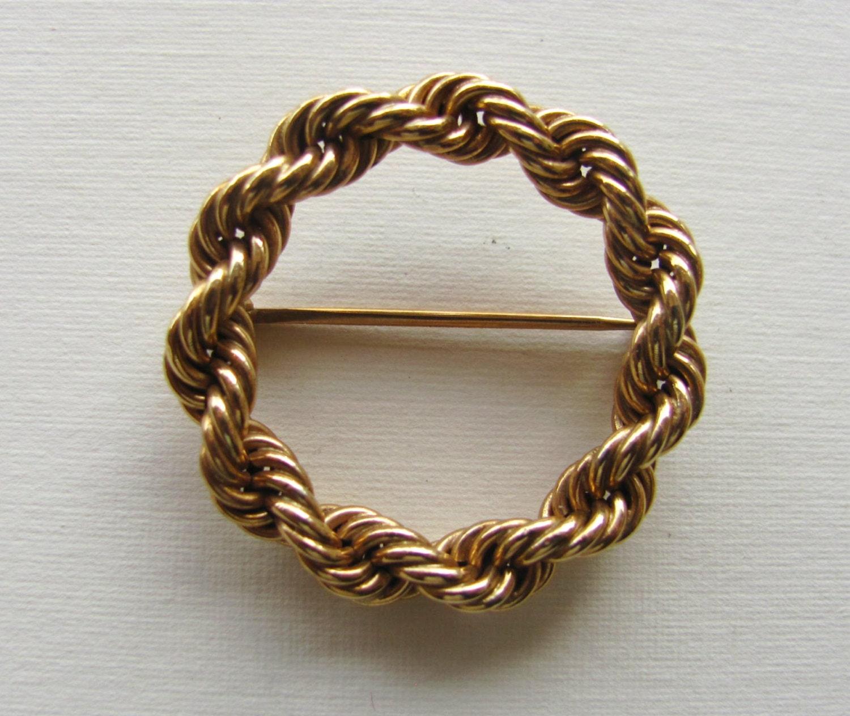 Antique Gold N Jadtar Set: Vintage Tiffany Brooch 14K Yellow Gold Circle Pin