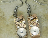 Steampunk Earrings - Petite ROSE Gold Watch Movements - ART DECO Design w Inset Ruby Jewels & Light Surface Patina - Cool Colors