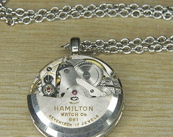 STEAMPUNK Necklace & Pendant - Torch Soldered - HAMILTON Silver Multi Tiered Watch Movement w Spinning Rotor - Ultra Cool Interactive Piece