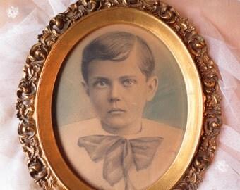 Antique Color Tinted Photo of a Handsome Boy original gilt oval frame Hoback's Picture Shop Huntington West Virginia WV child schoolboy