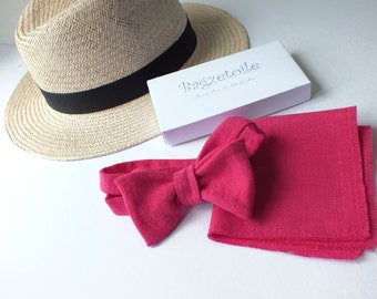 Linen Bowtie, Pocket Square  - just bowties for men - Bagzetoile - I am a maker of  men's freestyle, self tie bowties