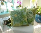 Flower Designer Pillow - Large Dahlia Design Pillow - Dusk Blue, Grayed Jade and Cream -  Reversible 20 x 20 Inch - Pillow Insert Included