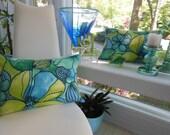 Teal Pillow - Navy Pillow - Caribbean Shades of Navy, Blue, Teal, Green - Large Flowers and Pods Designer Pillow - 14 x 20 Inch Lumbar