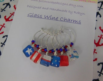 Patriotic Fourth July Wine Charms - Red White and Blue - Labor Day - Memorial Day - Set of Six - Glass Wine Charms - Pillowscape Designs