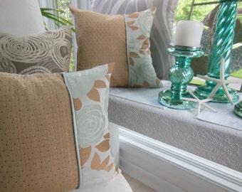 Green Pillow - Beige Pillow - Flower Pillow - Blue Pillow - Decorative Throw Pillow - Reversible Hathaway Horizon Spa Decorative Pillow