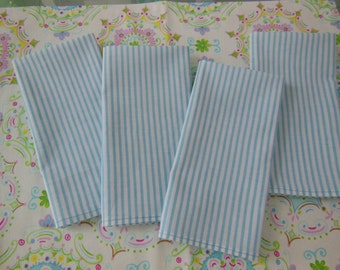 Blue Striped Cloth Napkins - Picnic, Cottage Chic, Beach - Set of Four - Blue Striped Napkins by Pillowscape Designs - Light Blue and White